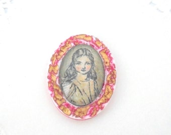 Sweet Whimsical Brooch, Alice In Wonderland Jewelry, Unique Handmade Brooch, Vintage Style Brooch