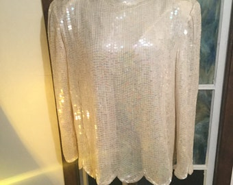 Vintage Designer Lord and Taylor Sequined Top Great Condition