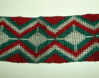 Wide Beaded Bracelet   Red, Green, White