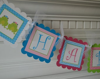 Frog Theme Banner - Frog Party - Frog Birthday Banner - Frog Banner - Twins Birthday Banner - Twin Birthday - Twin Party - Frogs