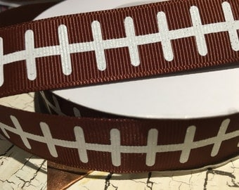 "3 yards 7/8"" football grosgrain ribbon brown"