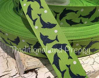 "3 yards 7/8"" Preppy Glitter Navy Dolphins on green grosgrain ribbon"
