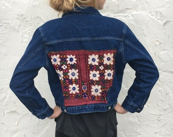 Jean Jacket, Denim, India Patch, Mirror Work, Embroidery, Upcycle, 80s