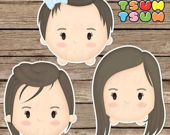 Be a Tsum Tsum - Custom Tsum Tsum Clipart Digital Cute Portrait Cartoon Illustration