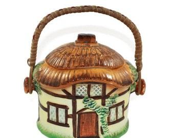 Cottage Cookie Jar Burlington Ware - Devon Cobb Cottage Ware Biscuit Barrel with Raffia/Cane Handle English Country