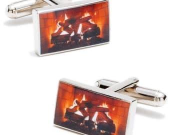 Deer Valley Fireplace By the Fire Winters Calm Cufflinks Cuff Links