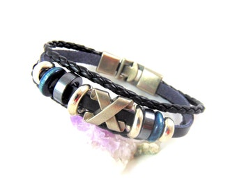 Men's Black Ethnic Leather Bracelet X