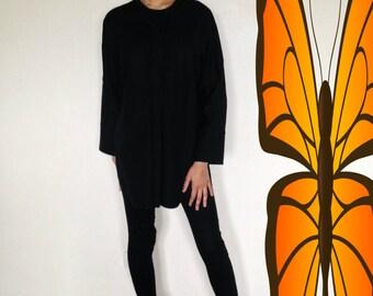 Vtg 90's MINIMALIST Jil Sander black tunic shirt M