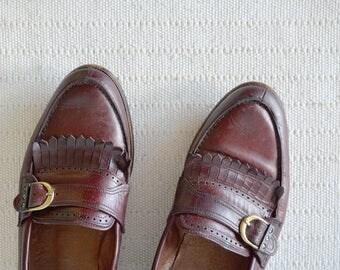 vintage VAGABOND men's loafers size 43 mahogany oxblood dress shoes dark red