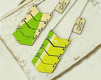 Wooden pendant geometric necklace Hand painted wood lime green jewelry Woman Gift Ideas under 20