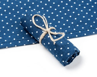 Handkerchief, 100% cotton, blue with white dots
