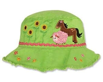 Personalized kids baby Sun Bucket Hat, Toddler Girl Farm Beach Bucket Hat, Baby Bucket Hat