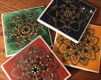 Mexican Flower Tile Coaster Set