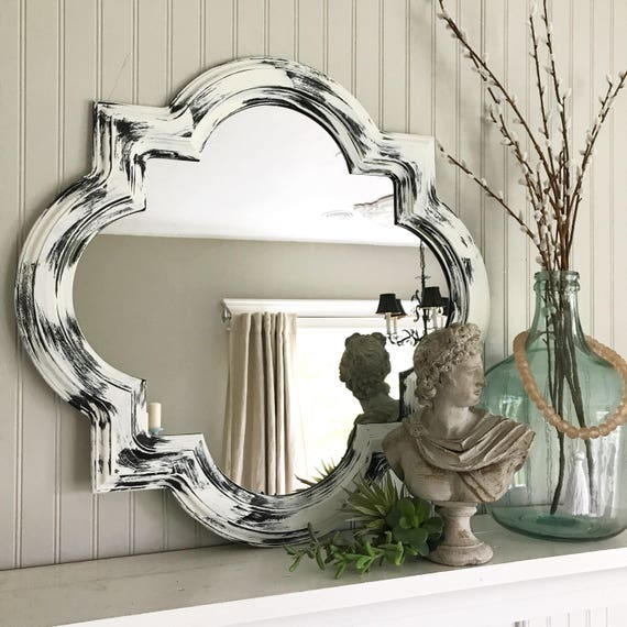 White Distressed Bathroom Mirror Scallop Framed Shabby