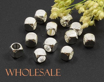 5 mm,Brush Finish,Brushed Silver Bead,Round Square,Solid Brass,Sterling Silver Plated,Tarnish Resist,4 mm Hole,WHOLESALE -- 100 PCS/ order