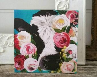 Floral cow artwork - PRINT of original painting on WOOD - farmhouse decor