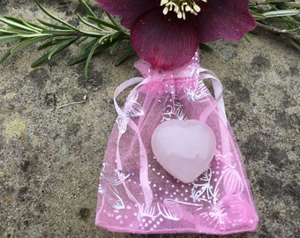 Rose Quartz Puff Heart - 3 cms - Love, Peace, Comfort Healing for Animals & People