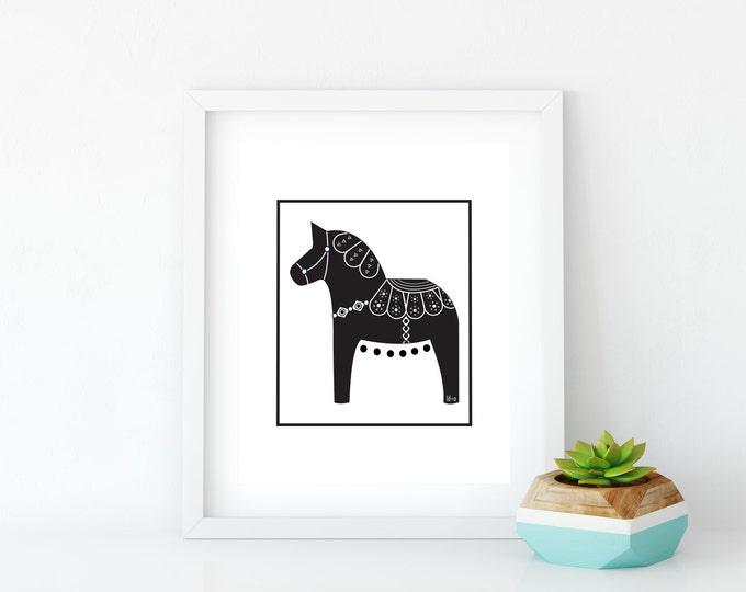 Printable, Black Dala Horse Print, Art Print, Wall Art, Black and White, Wall Decor, Nature, Nursery Wall Art, Swedish Horse