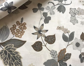 Swedish Cotton fabric - Svanefors - Floral - Brown/Grey - 150 cm x 150 cm - 59 inches x 59 inches