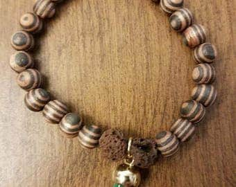 Hand Made Wood and Brown Lava Stone Bracelet