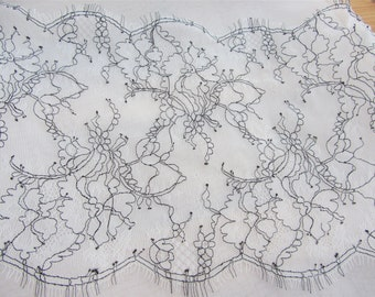 Black cording Lace ,3 Yards off white French Chantilly Lace with black thread ,Exquisite Black Eyelash Lace Trim,Wedding lace fabric