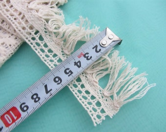 Lace Trim Cotton Beige Exquisite Tassels Wedding Trim 2.36 inches width