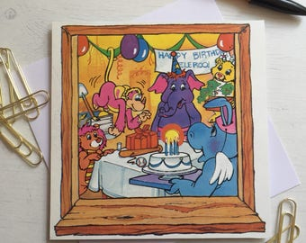 Retro Wuzzles birthday card. Cards for Him; Retro Card; Handmade Card; cards for Her