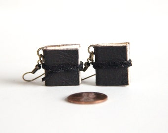 Small Journal Earrings, Tiny Diary Earrings, Leather, Wearable Books, Mini Books, Modern Jewelry, Book Lover, Small Book, Literary Jewelry