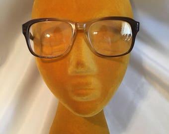 Vintage Ladies Men's Eye Glasses Mid Century Brown Plastic Frames and Arms - Liberty USA Bi Focal