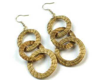 Chain Hoop Earrings, Fiber Chain Earrings, Natural Earrings, Eco Friendly, Organic Earrings, Chain Earrings, Statement Earrings, Long
