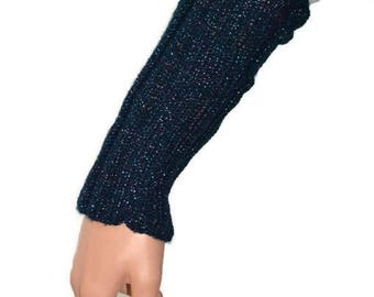 Blue, glittery wrist/armwarmers (knitted)