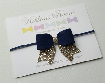 Navy and Gold headband,Baby  headband,flower girl headband, wedding bow,Toddler headband,photography prop, baby Hair accessory,glitter bow