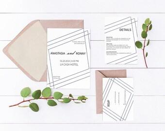 Wedding Invitations, Printable Wedding Invitation Set, Modern Wedding Invitations, Printable Invitations, Minimalist, Wedding Suite
