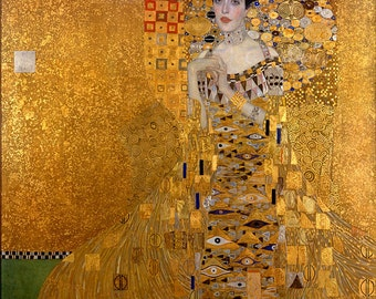 Gustav Klimt, The Lady in Gold, The Woman in Gold, Portrait of Adele Bloch-Bauer I, Linen Canvas Oil Painting Reproduction, Handmade Quality
