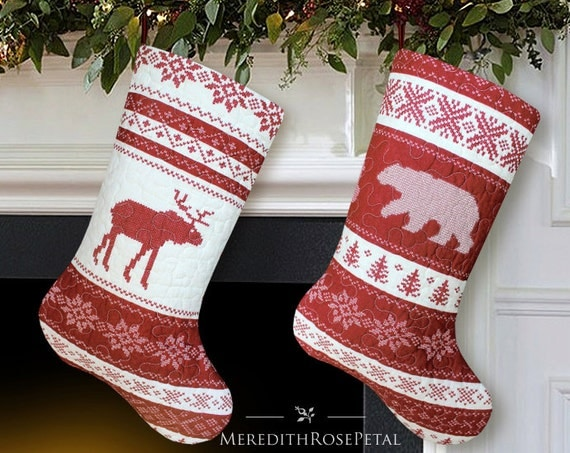 Quilted Christmas Stocking, Set of 2