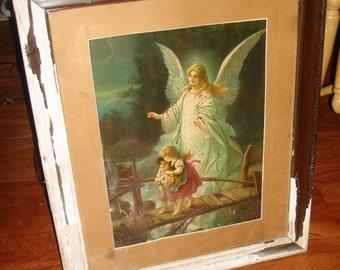SALE NOW antique guardian angel framed print/ antique german print / antique angel print