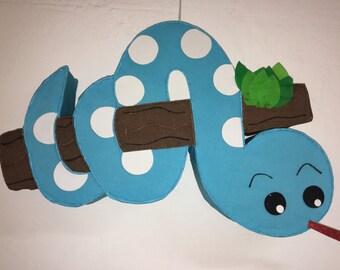 Pinata  baby snake, blue baby snake, jungle pinata