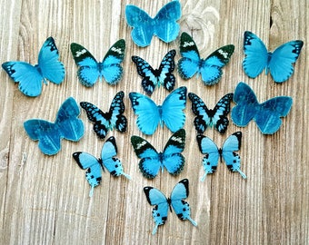Edible Butterflies  Something Blue Cake/Cupcake Toppers, Set of 15