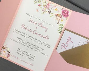 Rustic/Romantic Floral Watercolor Wedding Invitation