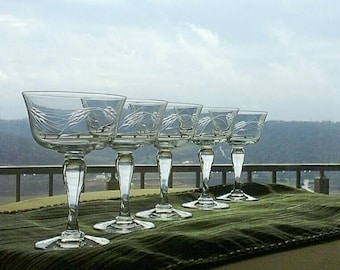 Sasaki Wheat Mid century Mod MCM bulbous Stem Champagne/Tall Sherbet Set of 5