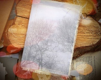 Misty Winter Trees Book- Handmade Recycled Paper Notebook - Art Paper and Old Books Sketchbook with Forest Photo
