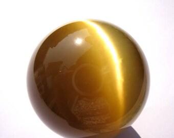 """50mm 2"""" Golden oranger CATS EYE Sphere - White Cat's Eye Orb Gemstone Sphere - Metaphysical Crystals Meditation Stone  1pcs"""