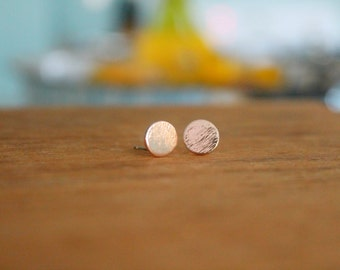 Delicate Rose Gold Plated Circular Post Earrings | Dainty Jewelry | Tiny Stud Earrings