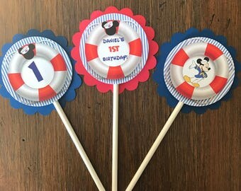 12 Personalized Nautical Sailor Mickey Mouse Cupcake Topper, Food Pick or Party Decorations