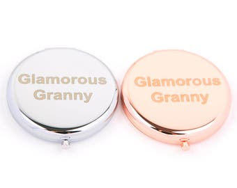 Compact Mirror-Rose Gold Mirror-Silver Mirror-Slogan Mirror-Glamorous Granny