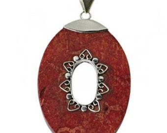 Silver Pendant coral 4.1 cm Ø oval hole Bali patterns almond pendant 925 Sterling Silver (No. AK-09)