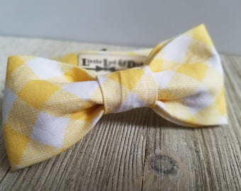 Adjustable Bowtie;YellowGingham;Wedding Accessories;Tie;Menswear;Boy's Neckties;Ring bearer;Groomsmen; Easter;Baby;Spring; Accessories; Bow