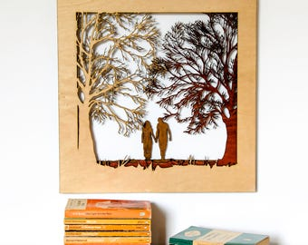 Couple Walking In Forest Wood Cut Wall Art Picture