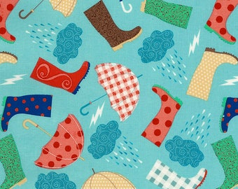 Rainboots and Umbrellas Fabric Fat Quarter, 1/3 Yard, 1/2 Yard, or By The Yard; C5718 Timeless Treasures; Novelty Fabric; Quilting Fabric