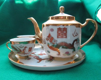 Vintage Phoenix Dragon Chinese Tea Set, The Year Of The Dragon
